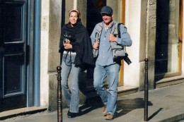 Scott and Elizabeth Christopher on Christopher Art Card photographic assignment in Paris, France 2004. Photo by: Richard Hayes